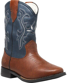 """Ad Tec Boys' 8"""" Pull On Western Boots - Square Toe, Brown/blue, hi-res"""