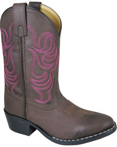 Smoky Mountain Girls' Monterey Western Boots - Round Toe , Brown, hi-res