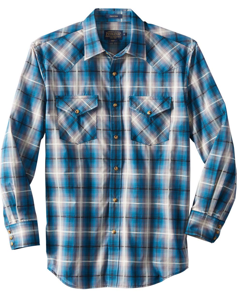 Pendleton Men's Long Sleeve Frontier Plaid Shirt, Teal, hi-res