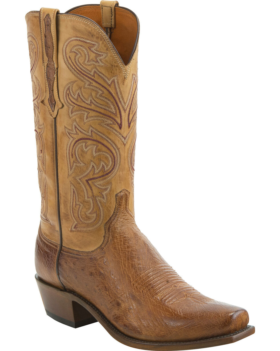 Lucchese Men's Handmade Nathan Smooth Ostrich Leather Western Boots - Snip Toe, Lt Brown, hi-res