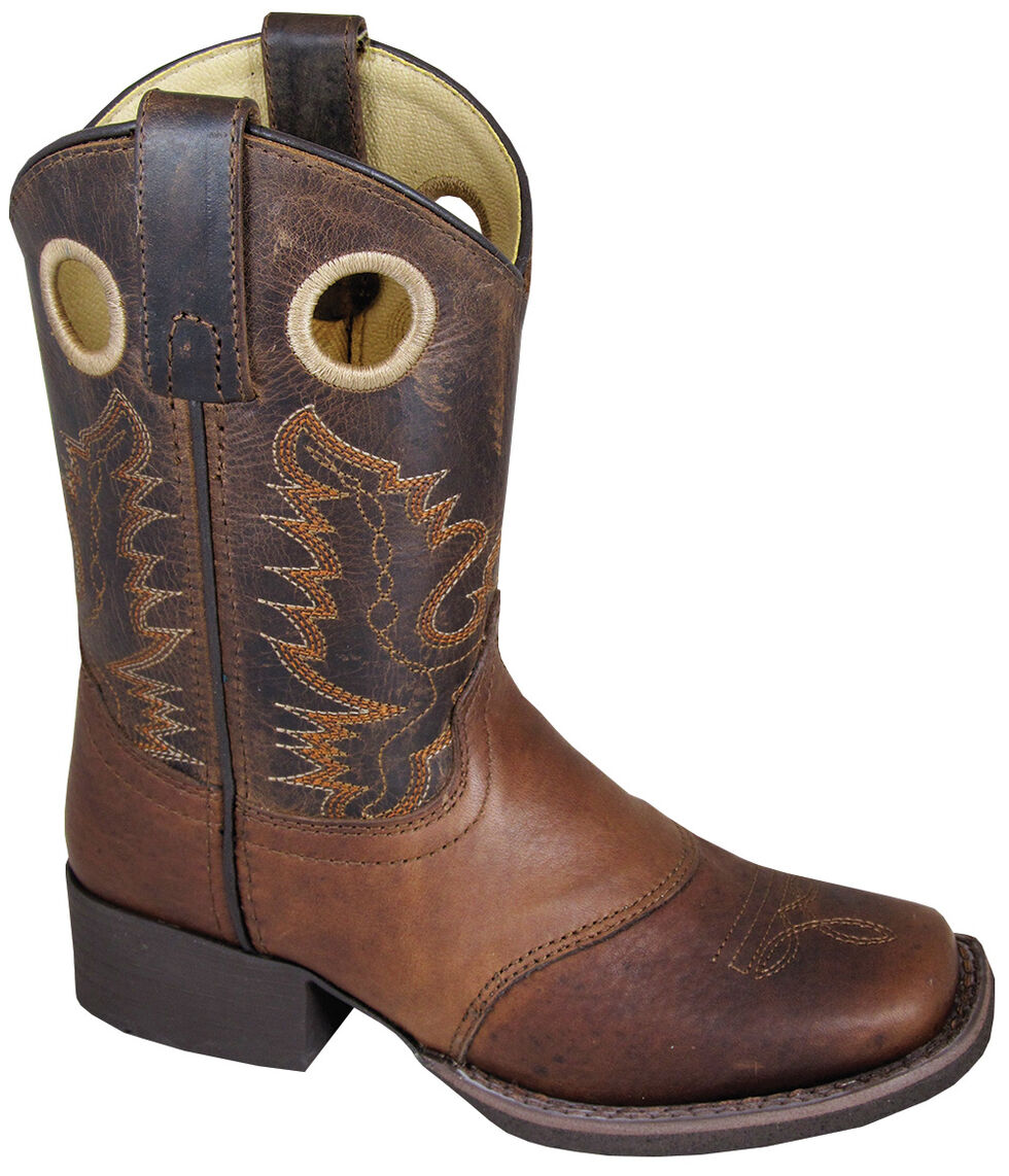 Smoky Mountain Boys' Luke Western Boots - Square Toe, Brown, hi-res