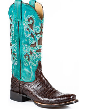 Stetson Women's Alia Brown Caiman Turquoise Inlay Western Boots - Square Toe, Brown, hi-res