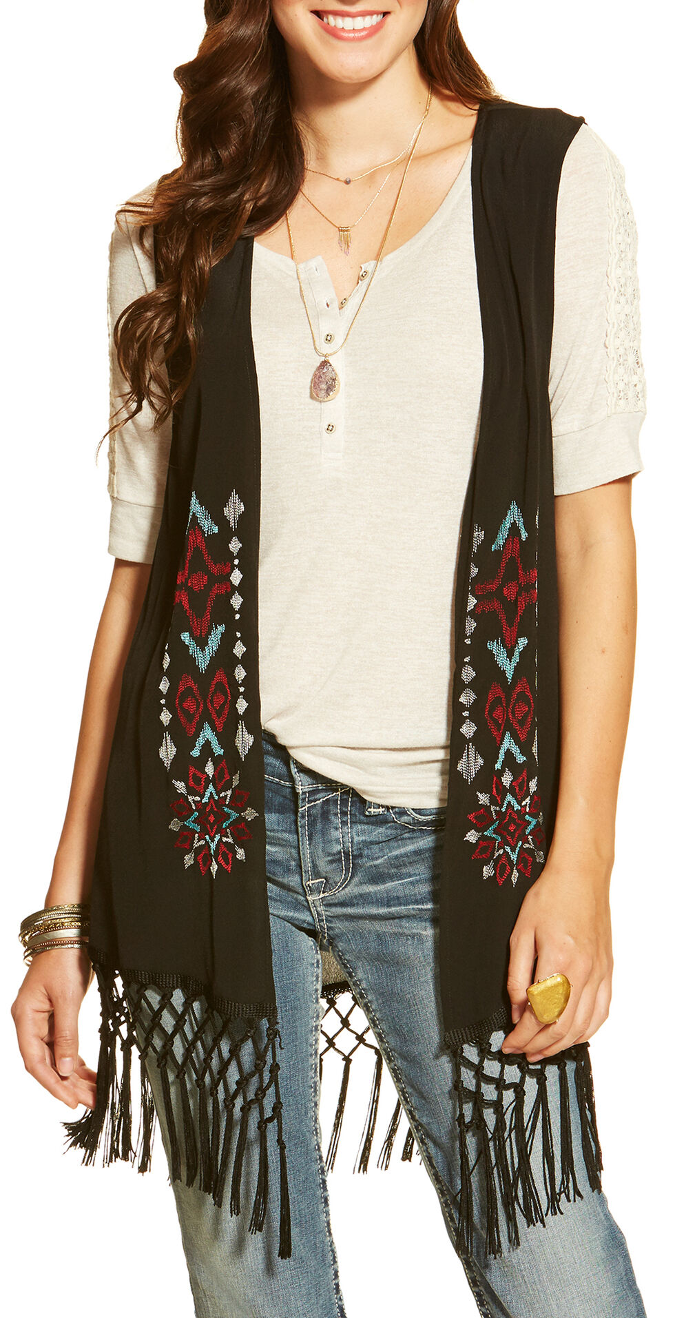 Ariat Women's Bacall Embroidered Vest, Black, hi-res