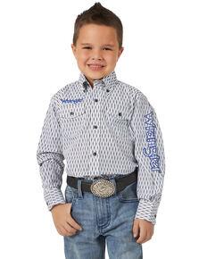 Wrangler Boys' White Geo Print Logo Long Sleeve Western Shirt , White, hi-res
