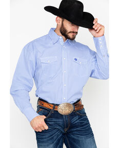 5806f901 George Strait by Wrangler Mens Troubadour Small Geo Long Sleeve Western  Shirt, Blue/white
