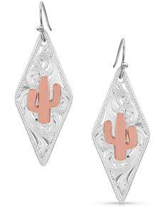 Montana Silversmiths Women's Two Tone Diamond Cactus Earrings, Silver, hi-res