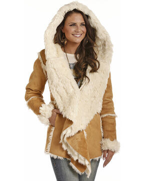 Powder River Women's Micro Suede Fur Hooded Jacket, Tan, hi-res