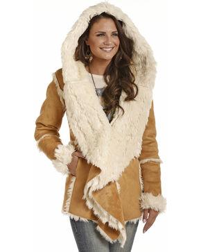 Powder River Women's Micro Suede Fur Hooded Jacket, Tan, hi-res