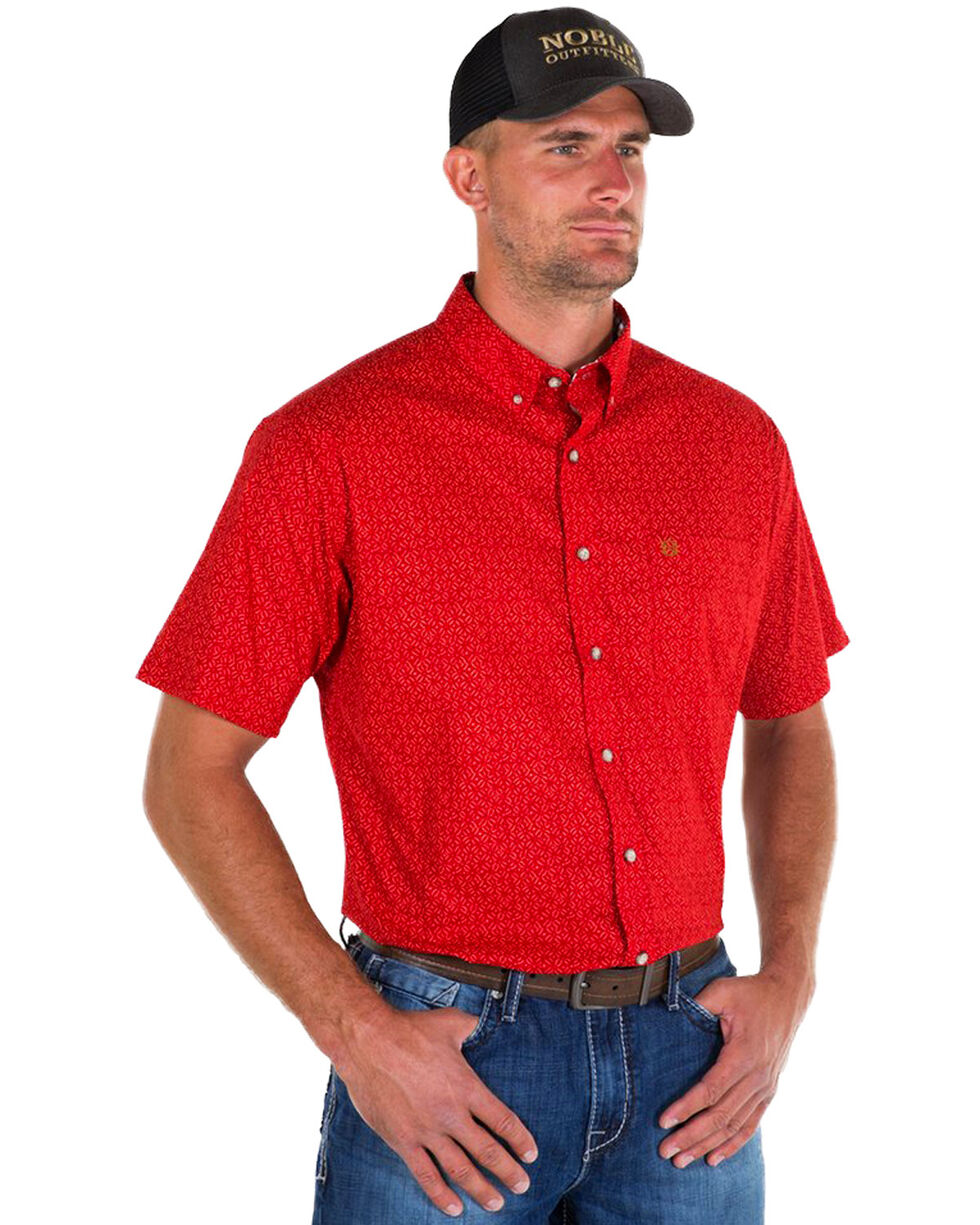 Noble Outfitters Men's Red Generation Star Print Short Sleeve Shirt , Red, hi-res