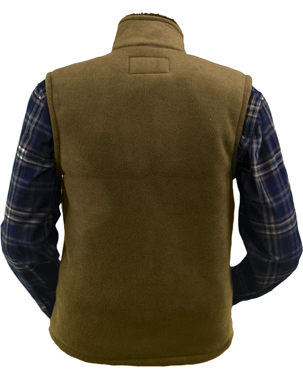 Outback Trading Company Men's Summit Fleece Vest, Dark Green, hi-res