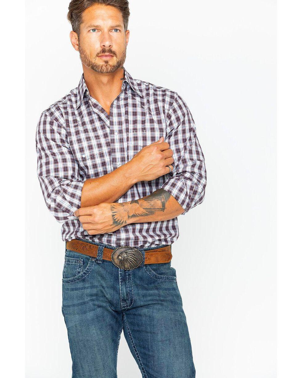 Wrangler Men's Brown Checkered Long Sleeve Western Shirt , Brown, hi-res