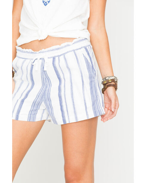 Miss Me Women's Blue Striped Shorts , Off White, hi-res