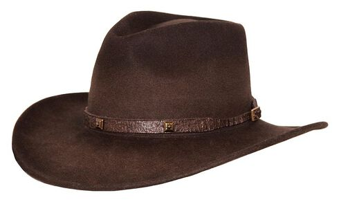 Outback Trading Co. Stamped Approval UPF50 Sun Protection Crushable Wool Hat, Brown, hi-res