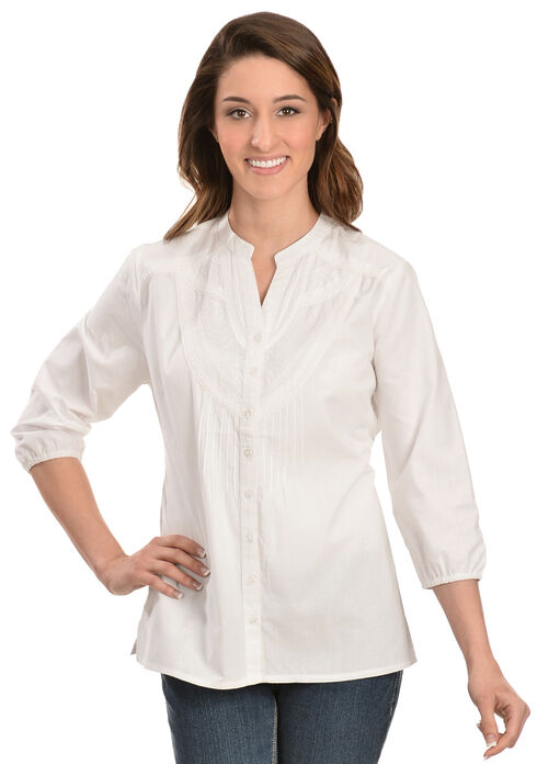 Red Ranch White Embroidered Button Down Top, White, hi-res