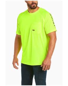 Ariat Men's Lime Rebar Heat Fighter Short Sleeve Work Pocket T-Shirt , Bright Green, hi-res