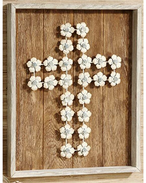 BB Ranch Wooden Plank & Flower Cross Design Wall Art, White, hi-res
