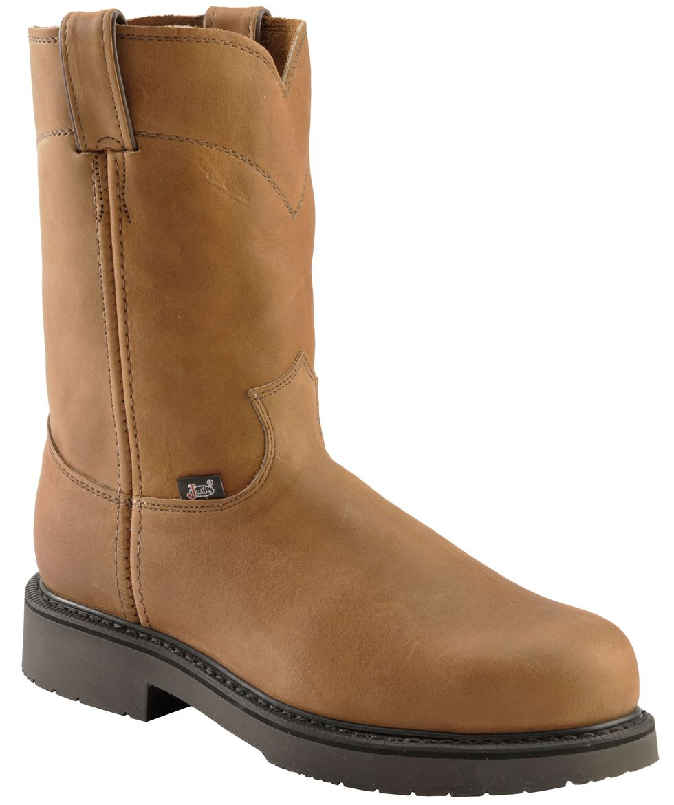 Justin Men's Cargo Brown Pull-On Work Boots - Steel Toe, Aged Bark, hi-res