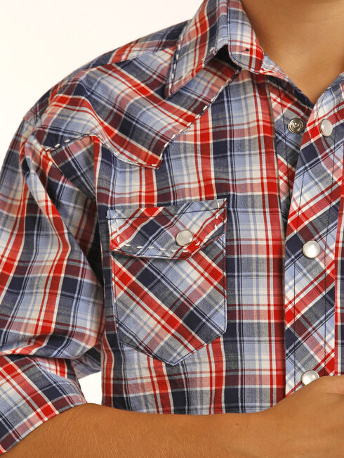 Rock & Roll Cowboy Boys' Red Long Sleeve Plaid Shirt , Red, hi-res