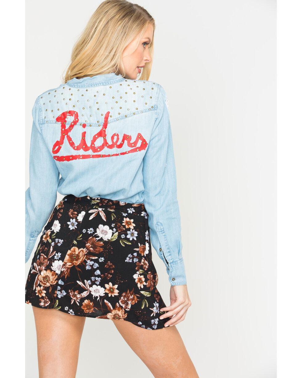 MM Vintage Women's Indigo Patch Denim Shirt , Indigo, hi-res