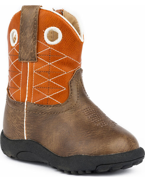 Roper Infant Boys' Cowbabies Boone Criss Cross Embroidered Cowboy Boots, Brown, hi-res