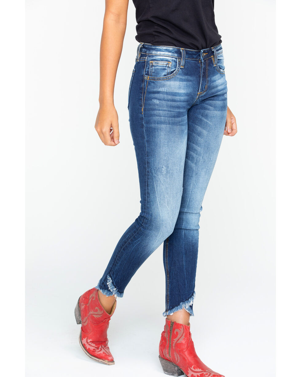 Miss Me Women's Destructed Hem Ankle Skinny Jeans , Indigo, hi-res