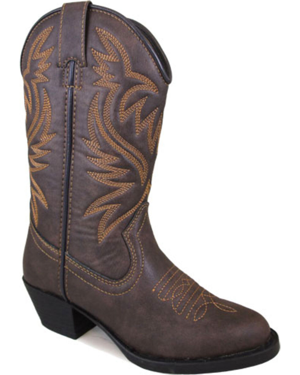 Smokey Mountain Toddler Girls' Del Rio Distressed Brown Cowgirl Boots - Round Toe, Brown, hi-res