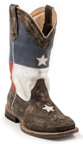 Roper Kids' Texas Flag Cowboy Boots - Square Toe, Brown, hi-res