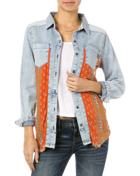 Miss Me Orange Print Chambray Shirt , Orange, hi-res