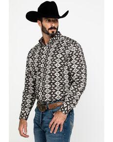 Tuf Cooper Men's Stretch Aztec Poplin Print Long Sleeve Western Shirt , Brown, hi-res