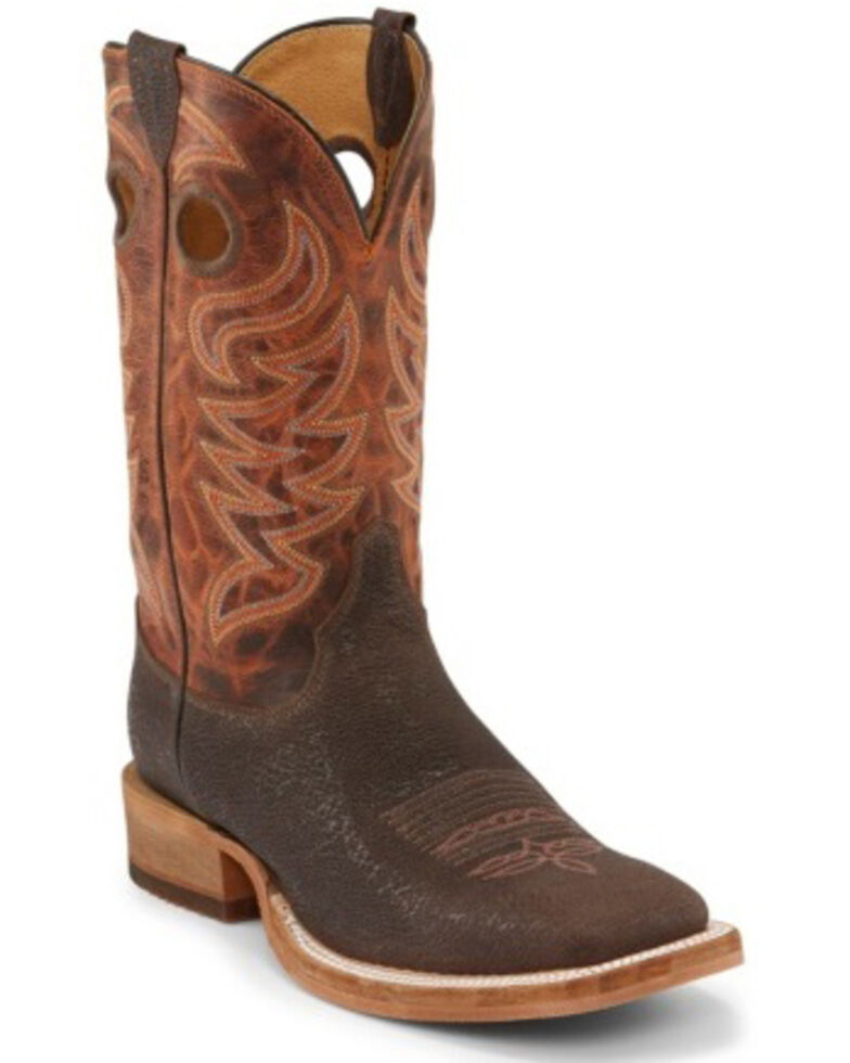 Justin Men's Caddo Brown Stone Western Boots - Wide Square Toe, Brown, hi-res