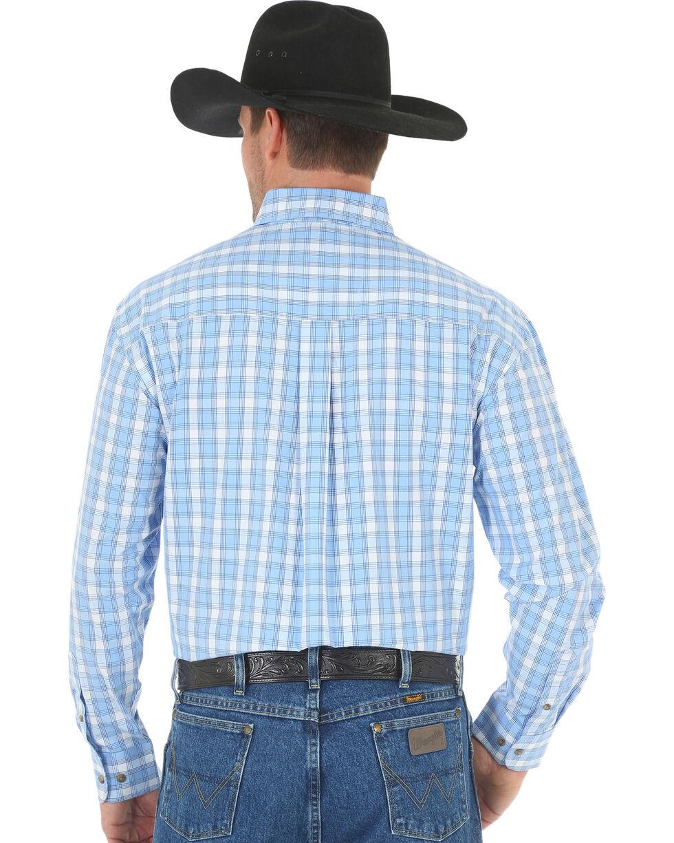 Wrangler George Strait Men's Blue Poplin Plaid Button Shirt, , hi-res