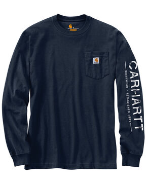 Carhartt Men's Workwear Logo Graphic Long Sleeve T-Shirt , Navy, hi-res