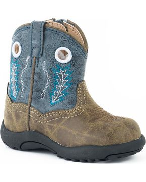 Roper Infant Boys' Cowbaby Blue Hole In The Walk Boots - Round Toe, Blue, hi-res