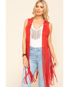 Idyllwind Women's Sway to The Music Studded Fringe Vest, Red, hi-res
