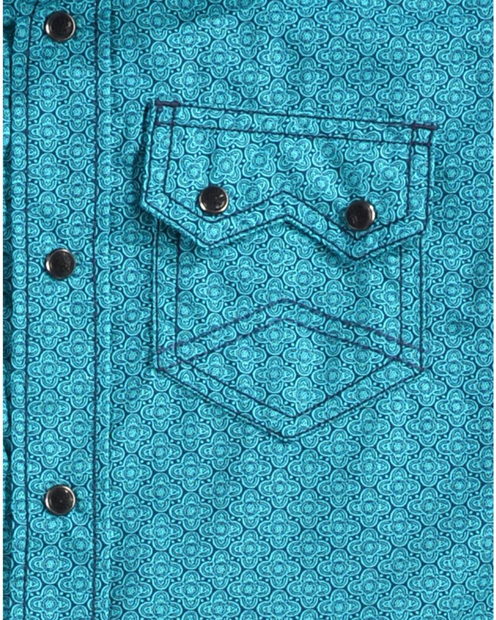 Cody James Boys' Blue Sphere Long Sleeve Shirt, Turquoise, hi-res