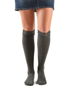Blazin Roxx Grey Lace Top Knee-High Socks, Grey, hi-res