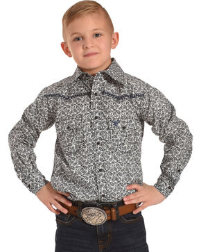Cowboy Hardware Boys' Blue Mini Paisley Print Western Shirt , Navy, hi-res