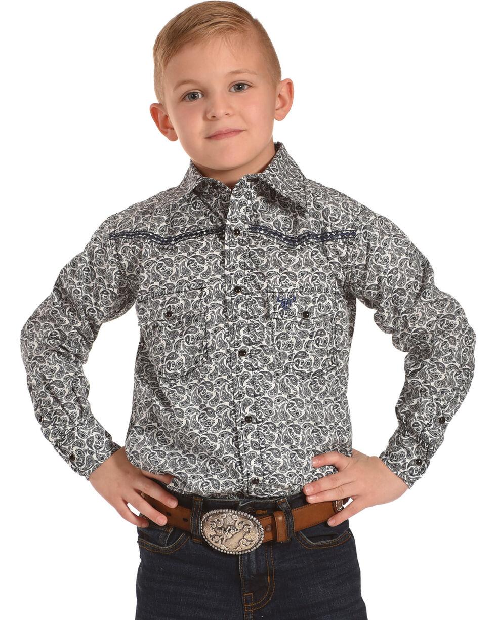 Cowboy Hardware Boys' Blue Mini Paisley Print Western Shirt , Navy, hi-res