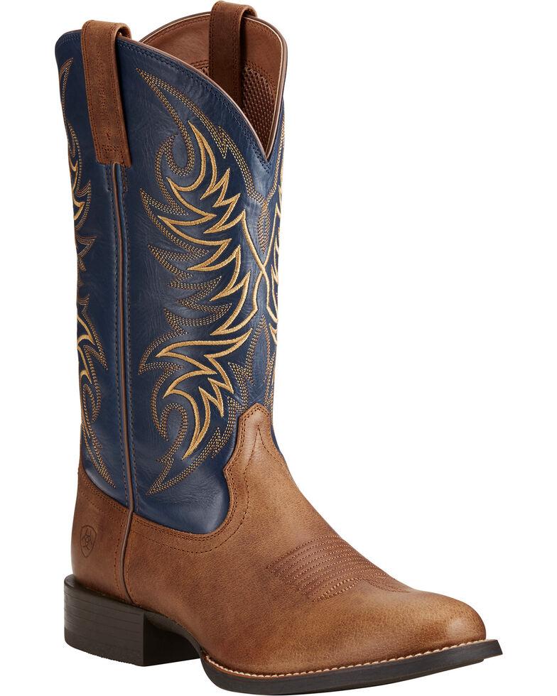 Ariat Men's Sport Horseman Tan/Blue Cowboy Boots - Round Toe, Tan, hi