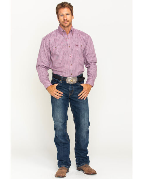 Wrangler Men's Red George Strait Button Down Shirt, Red, hi-res