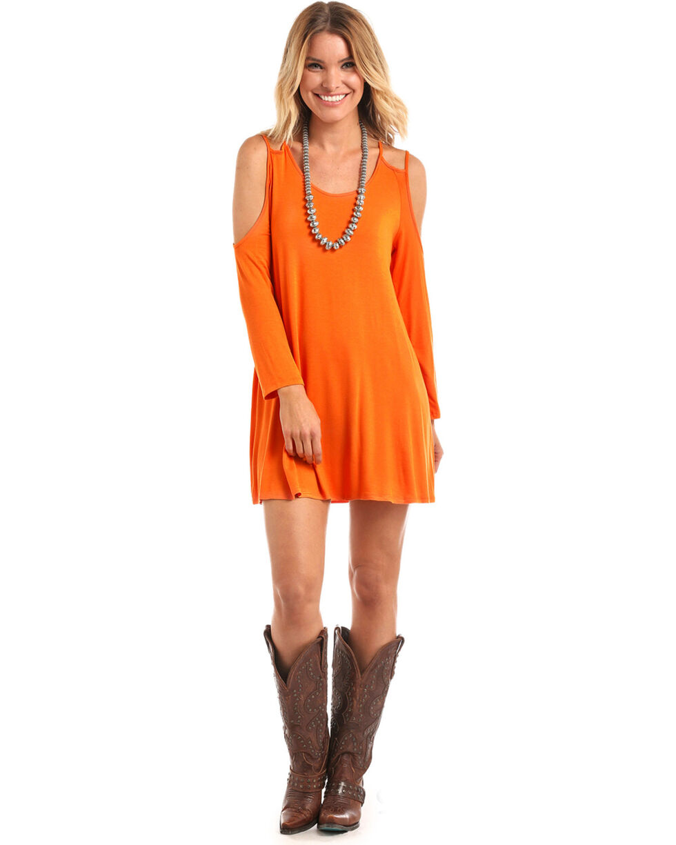 Panhandle Women's Orange Double Strap Cold Shoulder Dress, Orange, hi-res