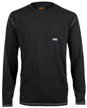 Ariat Men's Rebar Crew Long Sleeve Shirt, Black, hi-res
