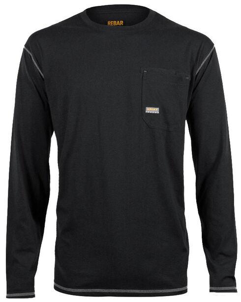 Ariat Men's Rebar Crew Long Sleeve Shirt, Black, hi-res