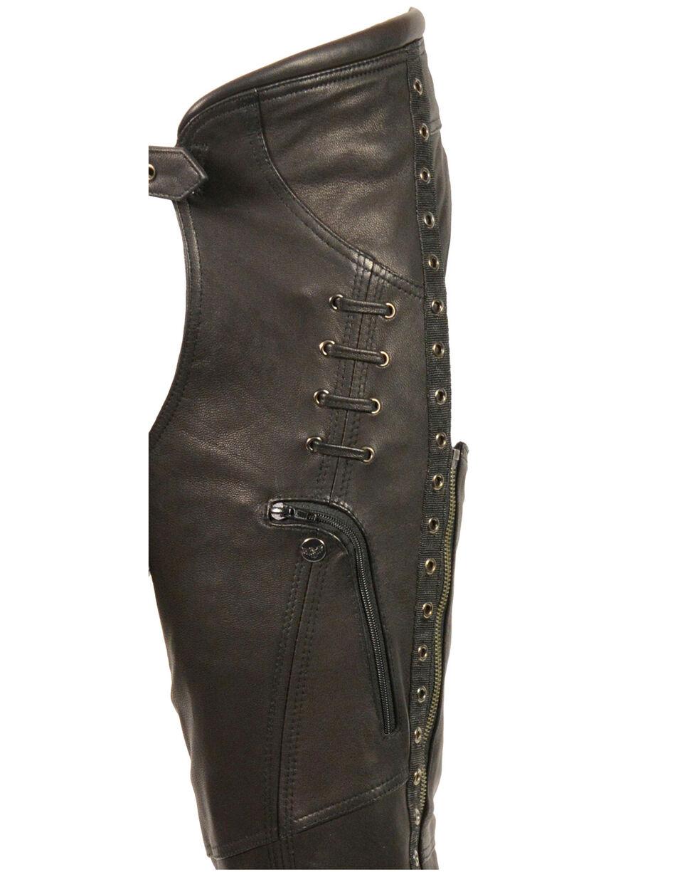 Milwaukee Leather Women's Lace & Grommet Lightweight Hip Set Chaps - 3X, Black, hi-res