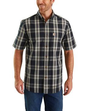 Carhartt Men's Black Essential Plaid Short Sleeve Work Shirt - Tall , Black, hi-res