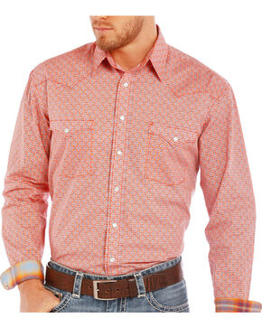 Rough Stock Men's Coral Vintage Geo Print Shirt , Coral, hi-res