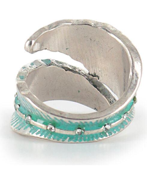 Shyanne Women's Feather Wrap-Around Ring, Turquoise, hi-res