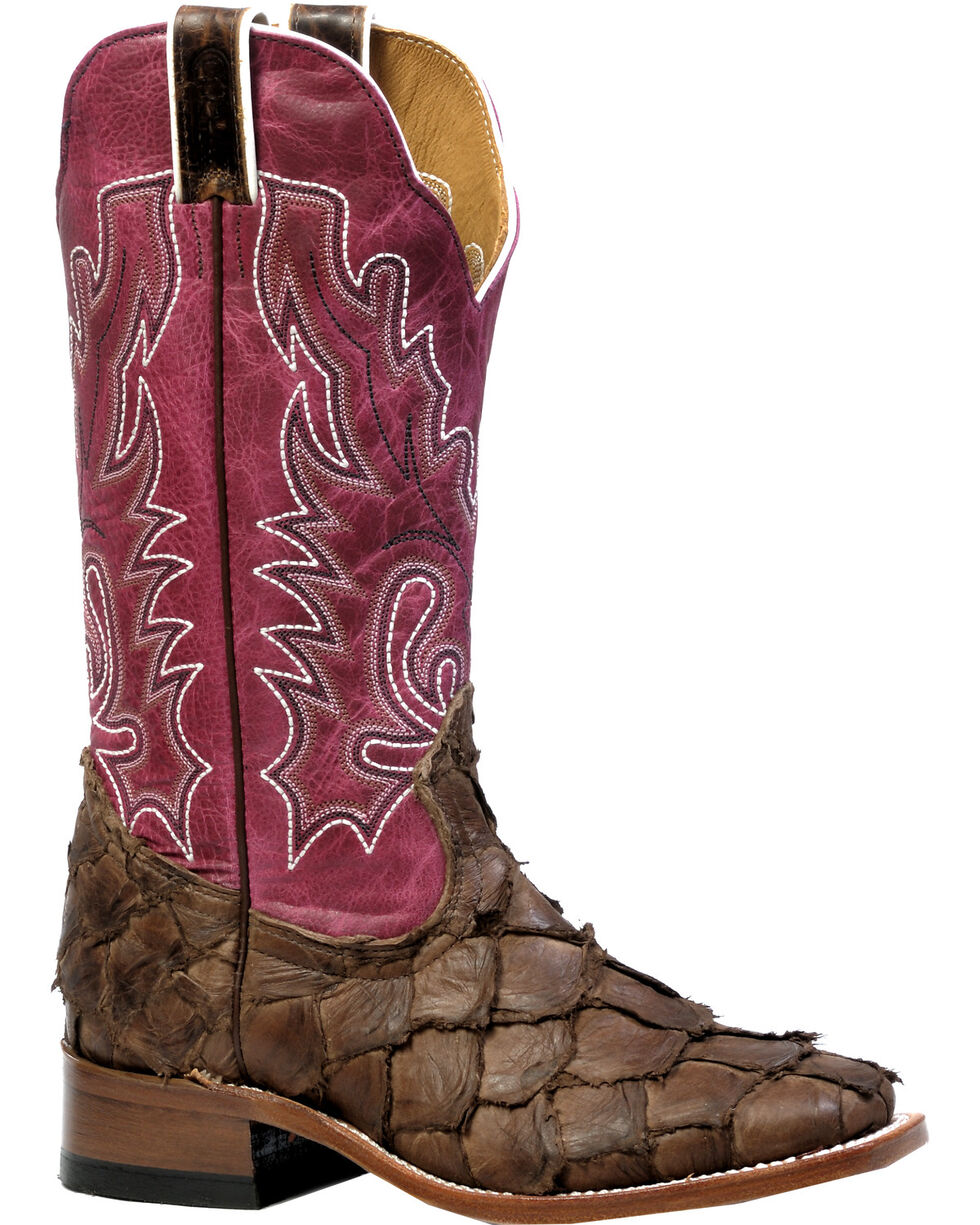 Boulet Women's Pirarucu Seal Brown Magenta Cowgirl Boots - Square Toe, Brown, hi-res