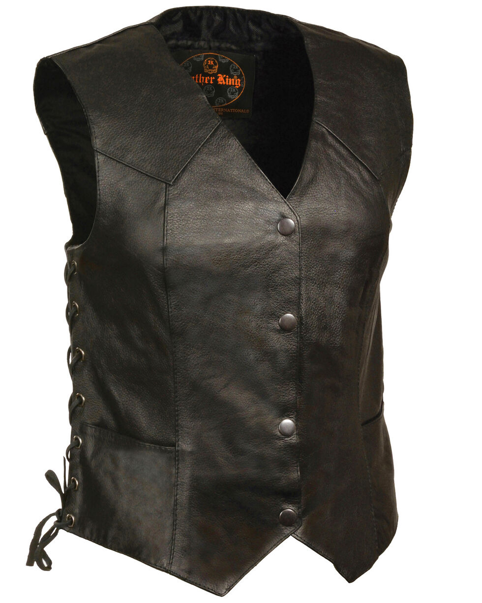 Milwaukee Leather Women's Classic Side Lace Four Snap Vest, Black, hi-res