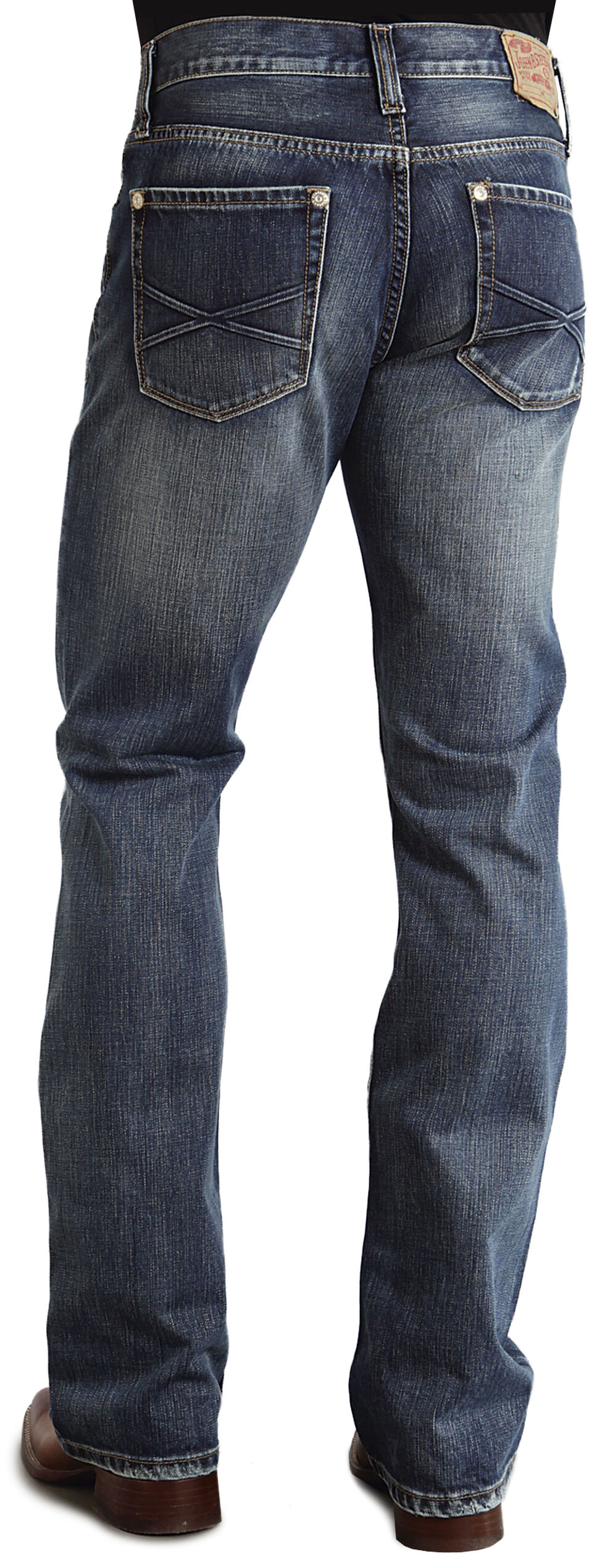 "Stetson Rock Fit Embossed ""X"" Stitched Jeans, Dark Stone, hi-res"